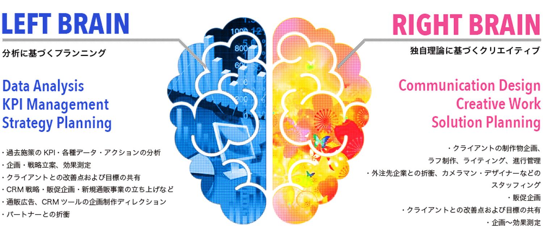 左脳:分析に基づくプランニング/右脳:独自理論に基づくクリエイティブ